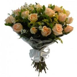 Buquê Com 20 Rosas Salmão