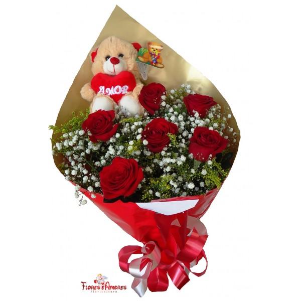 "Buquê De 6 Rosas com Urso ""D. Juan"""