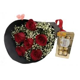 Buquê Com 6 Rosas+ Ferrero Rocher