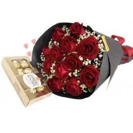 Buquê 12 Rosas + Ferrero Rocher