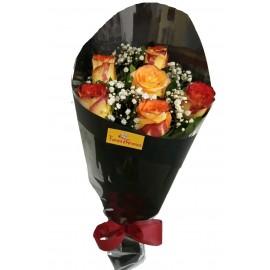 Buquê Compacto 6 Rosas Confete