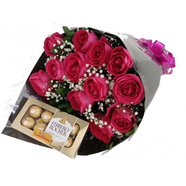 Buquê 12 Rosas Pink + Ferrero Rocher