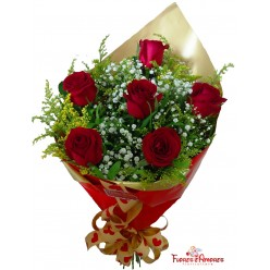 """Buquê Com 6 Rosas """"Elegance"""""""