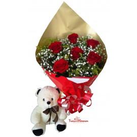 Amo Você Ursa Carinhosa com Buquê