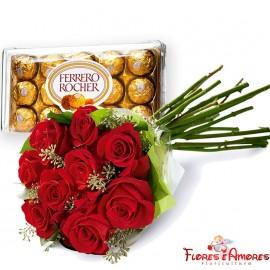 Buquê Com 08 Rosas vermelhas com Ferrero Rocher