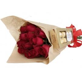 Apanhado de Amor 10 Rosas Com Ferrero Rocher