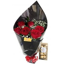 Amore com 6 Rosas+ Ferrero Rocher