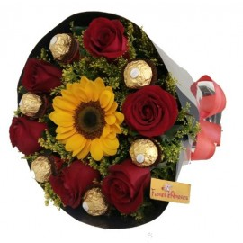 Buquê Especial Girassol e Ferrero Rocher