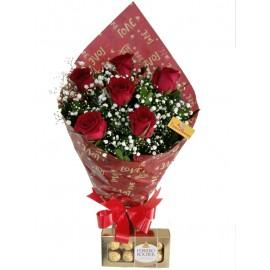 Buquê 06 Rosas  Vermelhas Com Ferrero Rocher