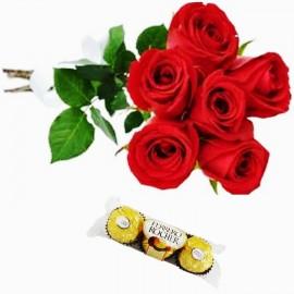 Buquê 6 Rosas com Ferrero 03 bombons