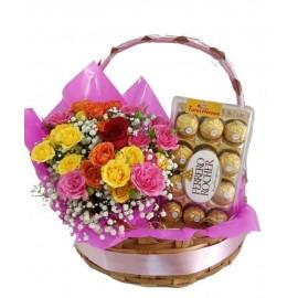 Cesta Com Mini Rosas e Ferrero Rocher