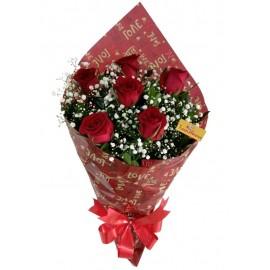 Buquê 06 Rosas Vermelhas (Promoção)