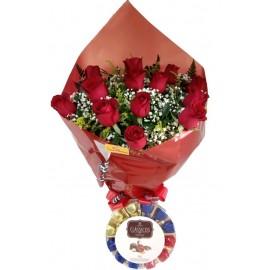 Amor 12 Rosas Com Cacau Show